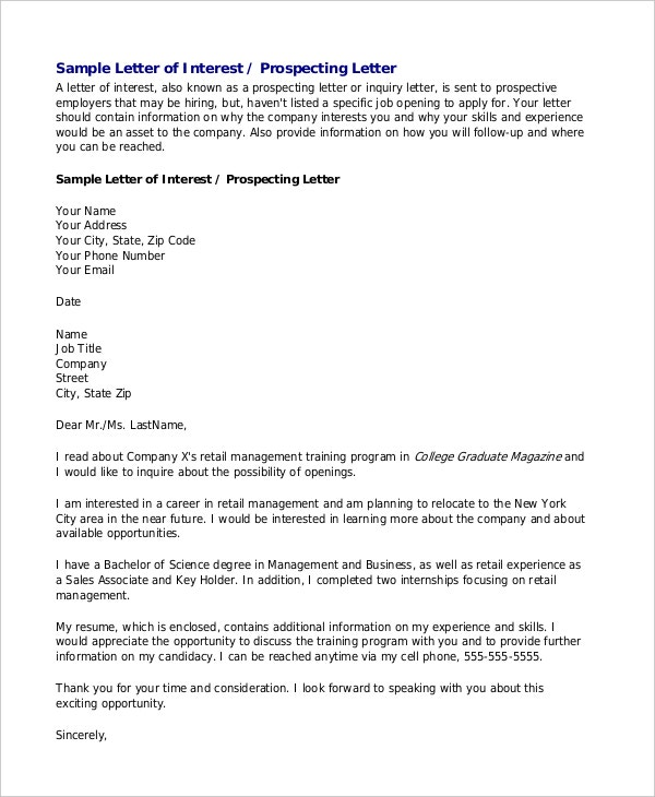 Letter of interest format general letter of interest sample letter letters of interest free sample example format free expocarfo Images