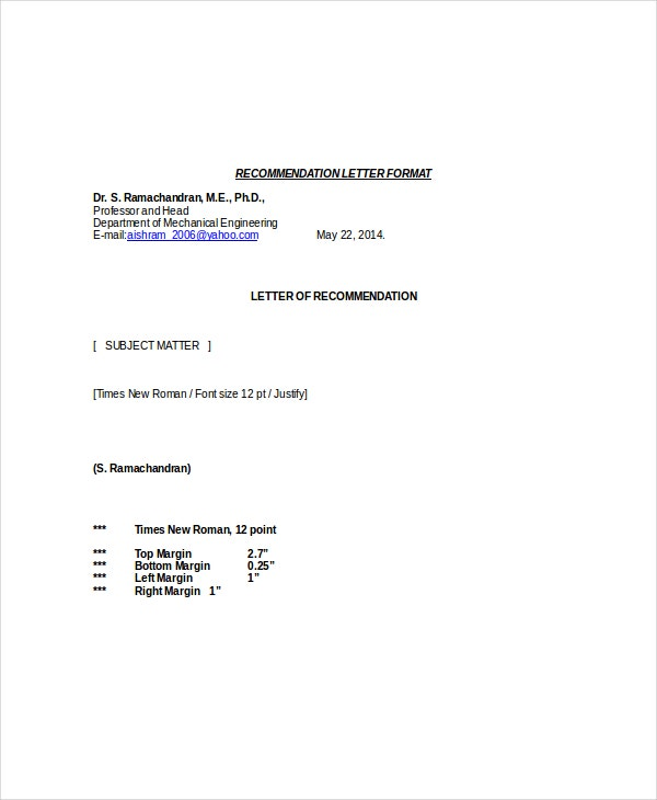 Letter Of Recommendation Format   Free Word Pdf Documents