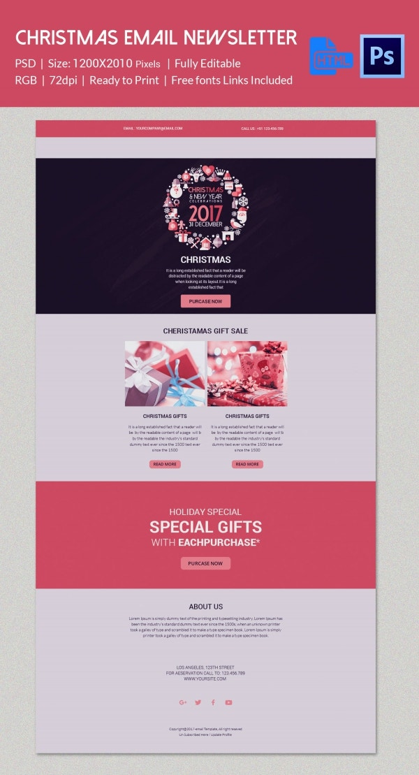 Elegant Christmas Email Newsletter Template