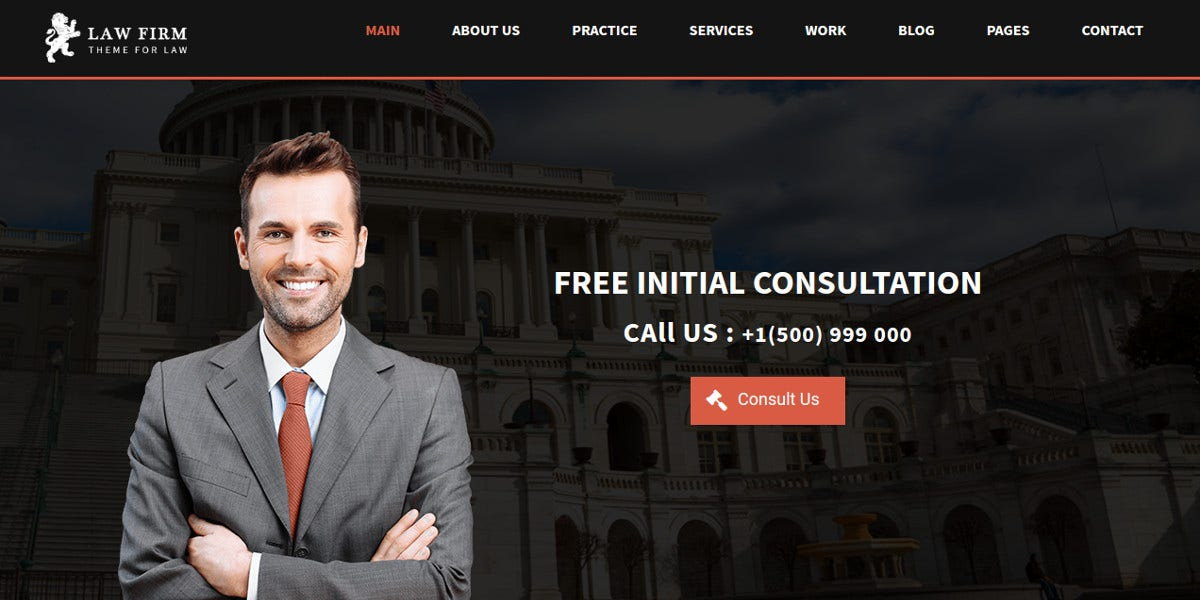 Business Law Firm WordPress Website Theme $49