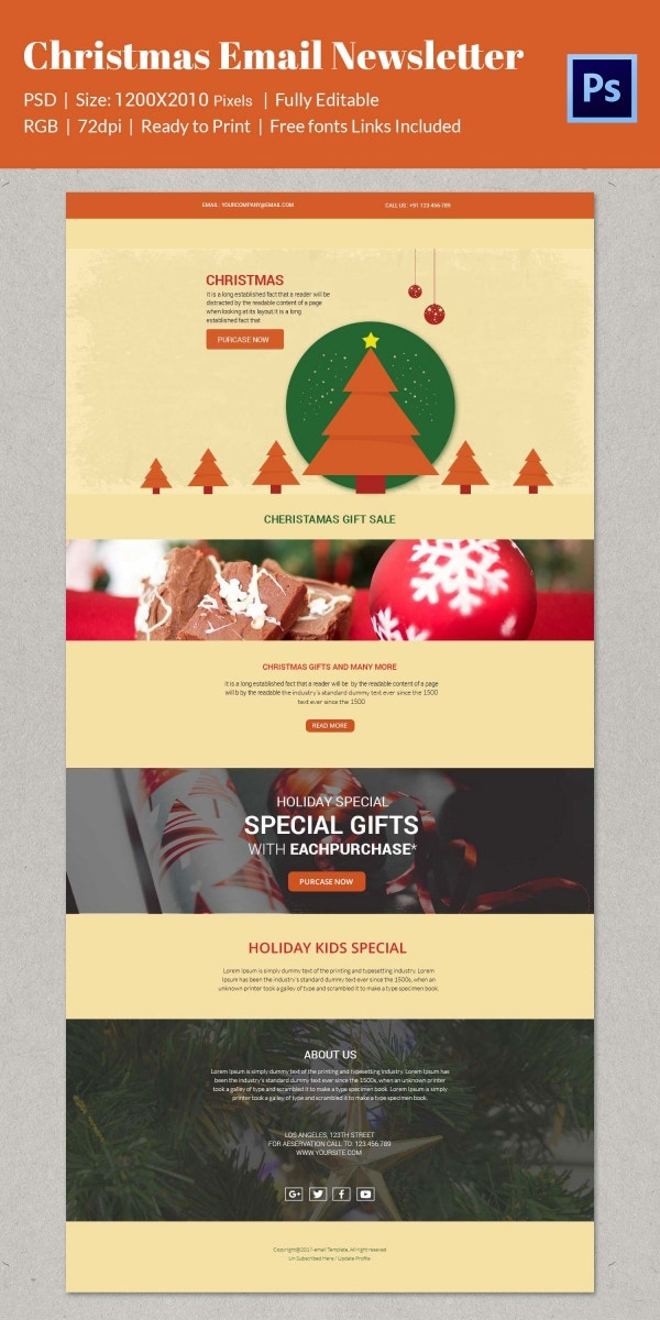 Colorful Christmas Newsletter Template Download