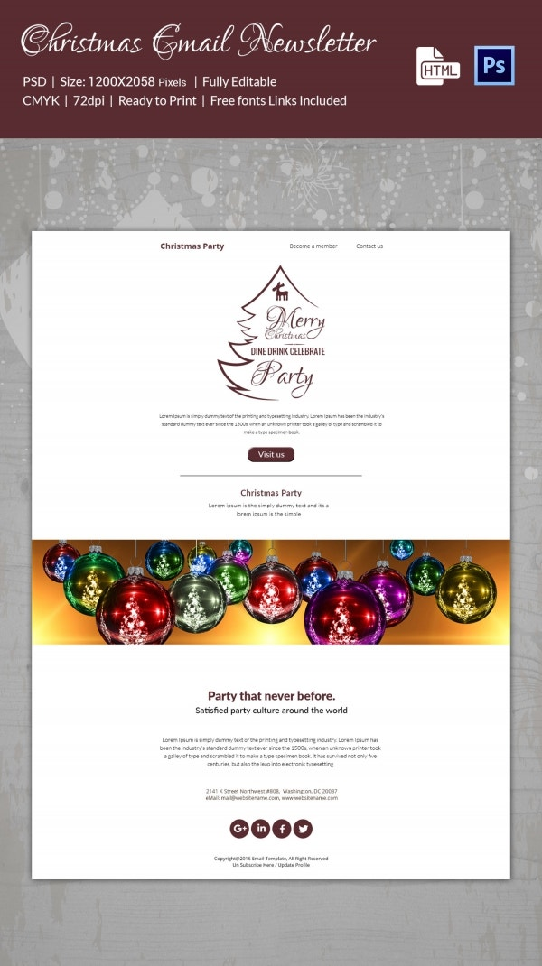 Christmas Newsletter Templates PSD HTML Format Download - Simple newsletter template