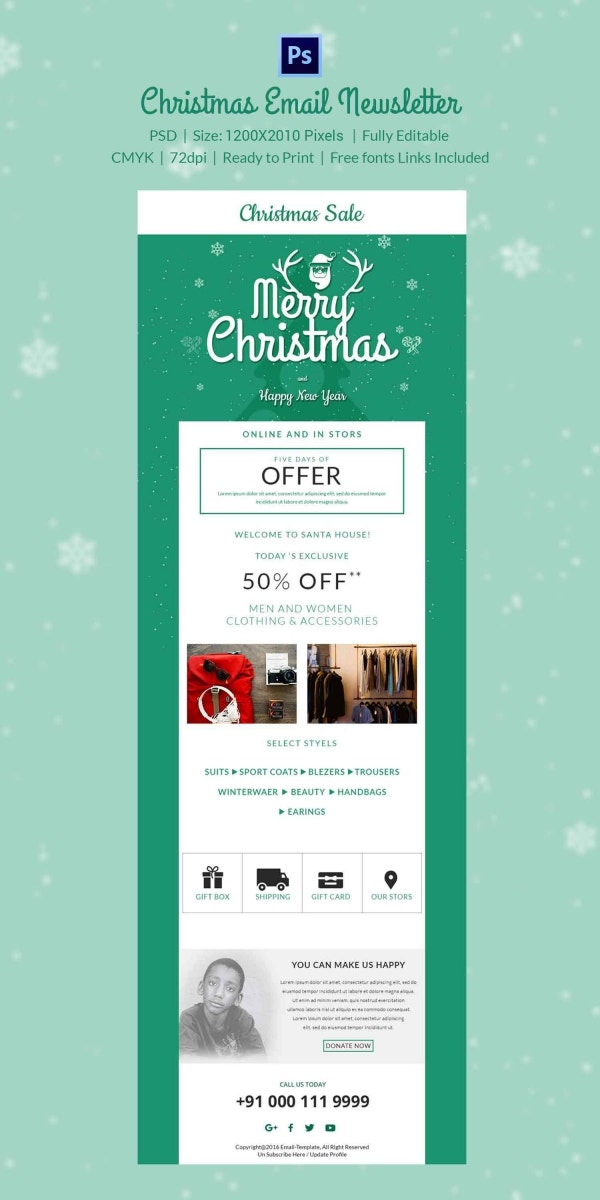 Christmas Discounts Nesletter Template