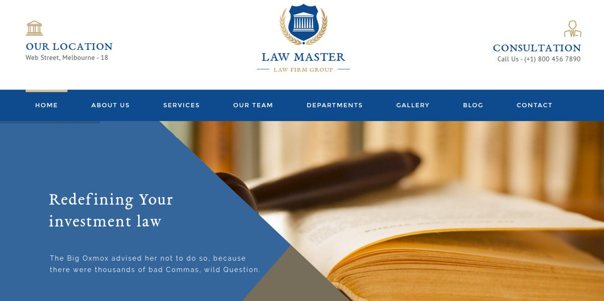 Consultant Law Firm WordPress Website Theme $49