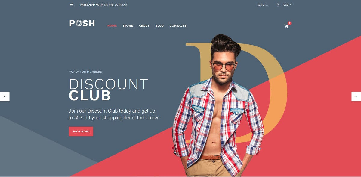 Men's Fashion Clothing Scrolling WooCommerce Website Theme $114