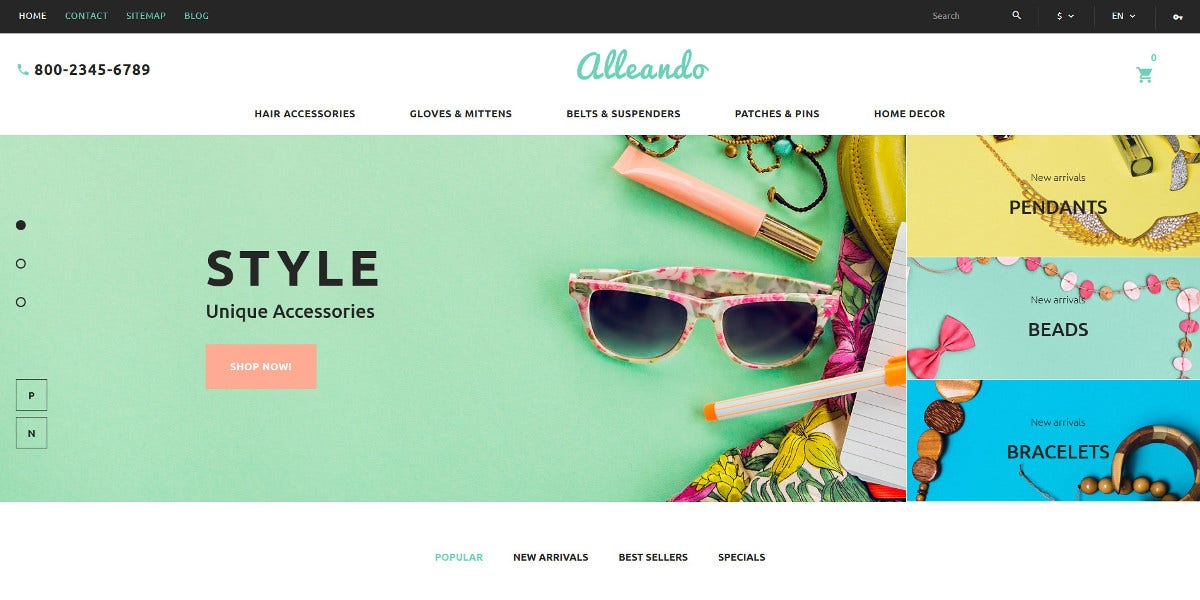 Accessories Scrolling Responsive PrestaShop Website Theme $139