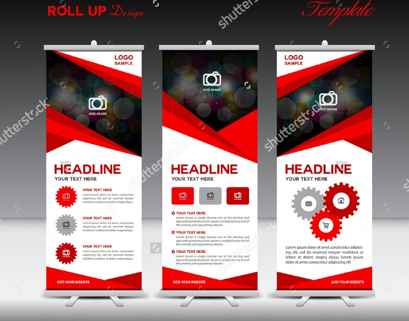 red color roll up banner