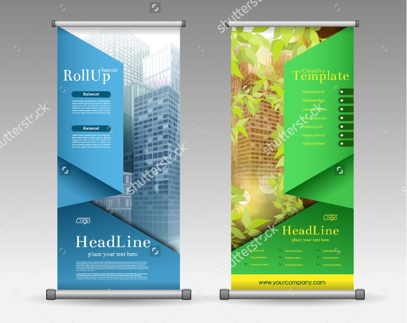 geometric colourful roll up banner design