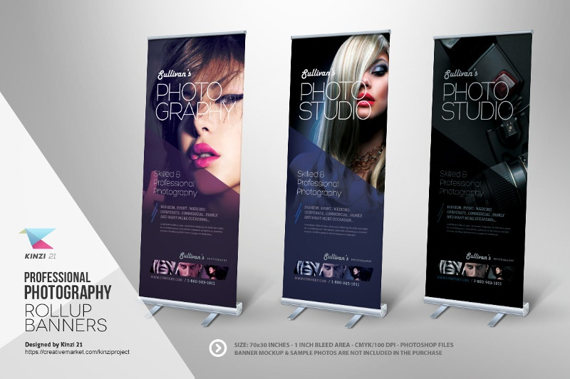 models roll up banners