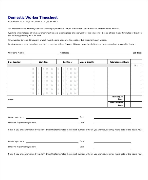 domestic-worker-timesheet-template