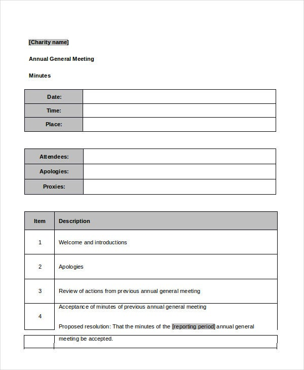 Best meeting minutes template 24 free word pdf for Annual corporate minutes template free