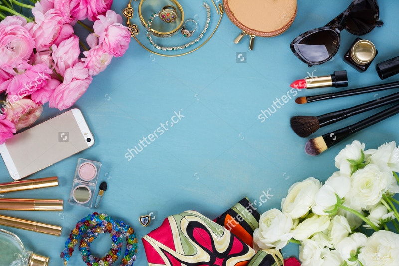 fashion-fresh-flowers-on-blue-wooden-background