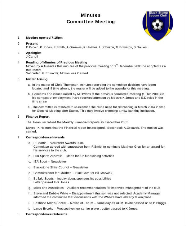 sample committee meeting minutes