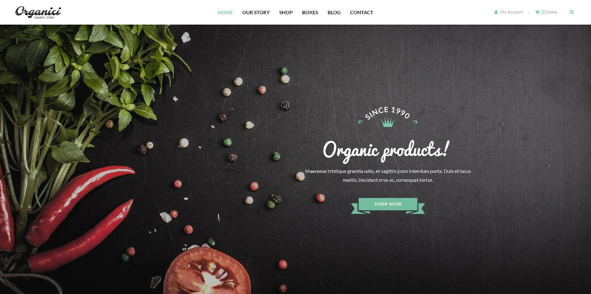 Organic Store PSD Template $12