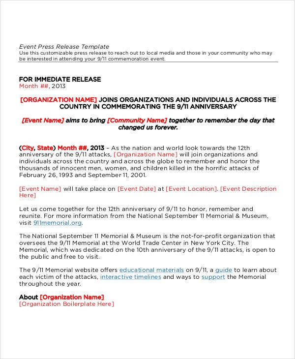 22 press release template free sample example format free sample event press release template pronofoot35fo Image collections