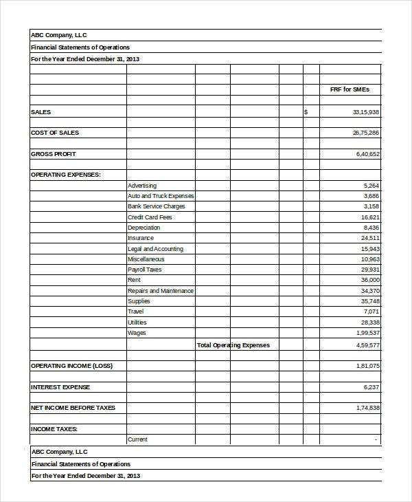 Financial Statement   Free Sample Example Format  Free