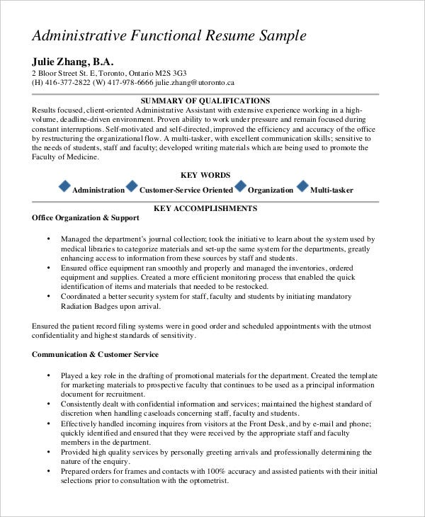 Administrative Functional Resume  Sample Functional Resumes