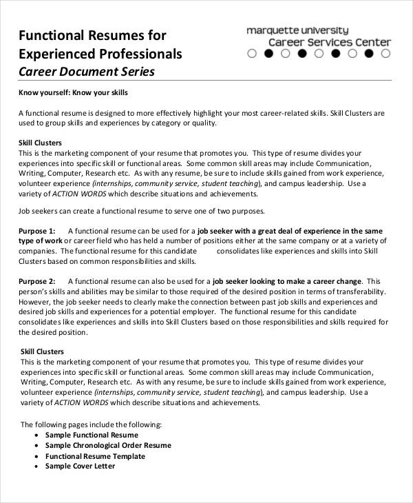 Functional Resumes For Experienced Professional  Functional Resume Vs Chronological