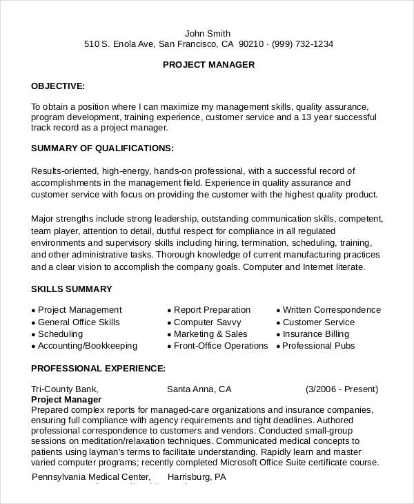 Resume help project manager