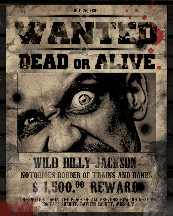 17 wanted posters free psd ai vector eps format for Wanted dead or alive poster template free