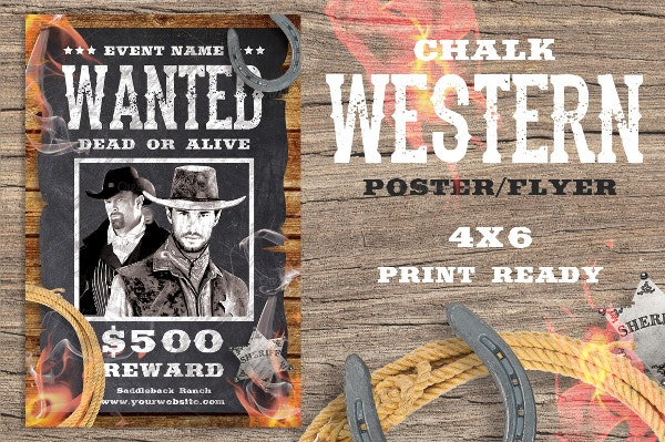 chalk western wanted poster template