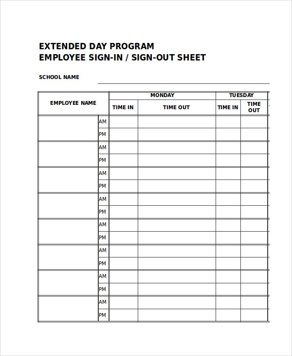 Sign in sheet 30 free word excel pdf documents for Security sign in sheet template