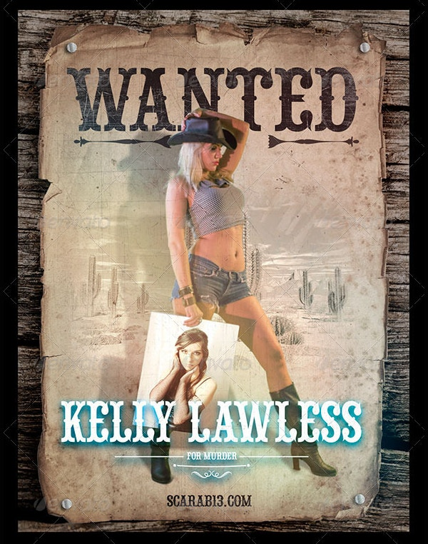 wanted poster with cowgirl