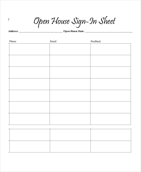 Printable Open House Sign In Sheet  Free Printable Sign In Sheet Template