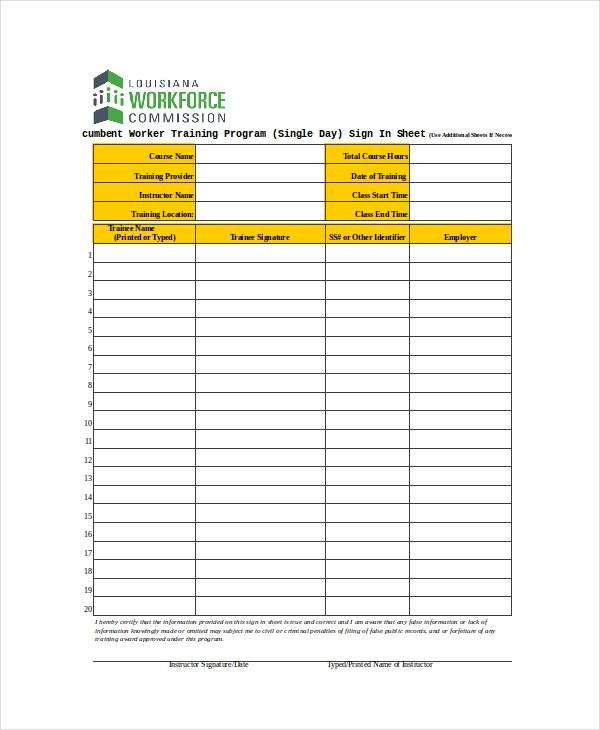 single day sign in sheet template