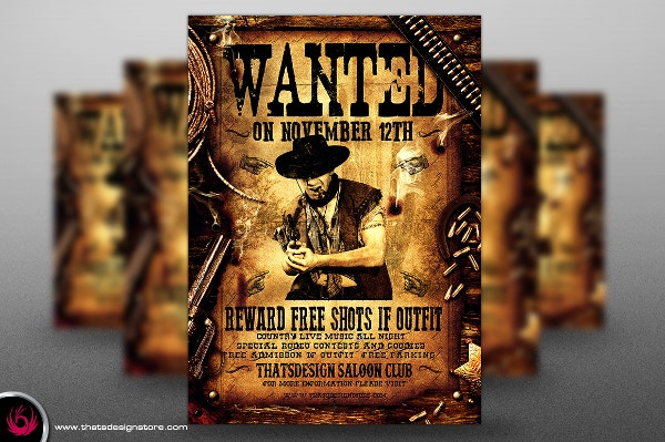 Wanted western poster template
