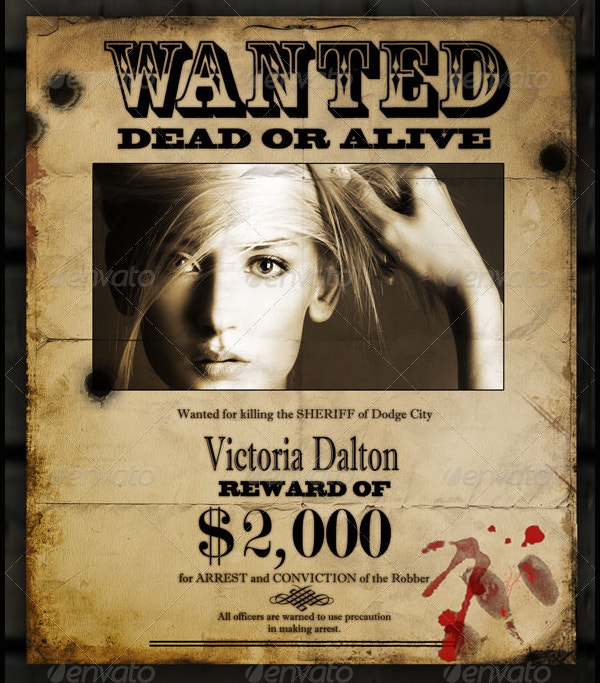 Editable Reward Wanted Poster Template  Most Wanted Sign Template