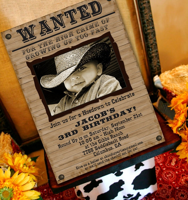 cowboy birthday invitation wanted poster