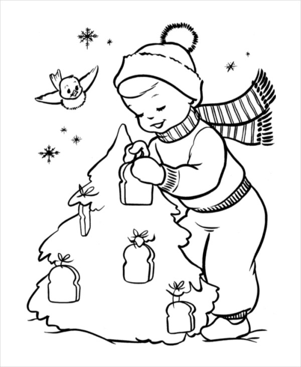 cute christmas coloring page