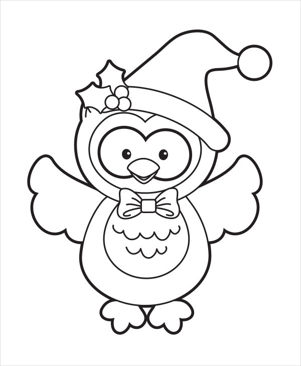 christmas holiday owl coloring page