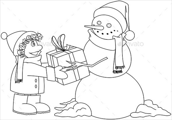 christmas snowman gives present coloring page