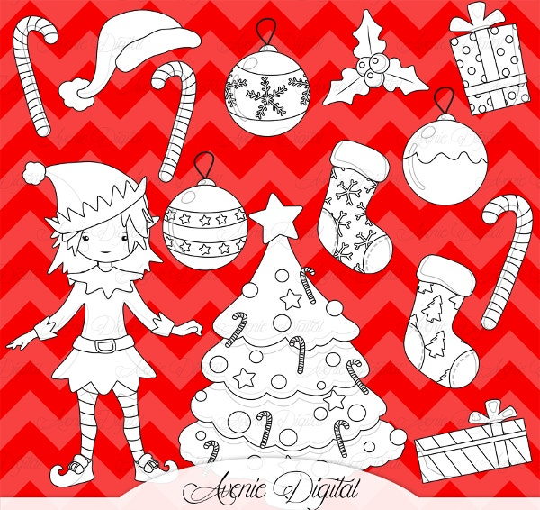 christmascoloring decoration digital stamps