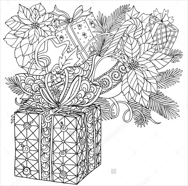 christmas decorative coloring page template