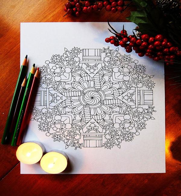 christmas mandalas coloring page