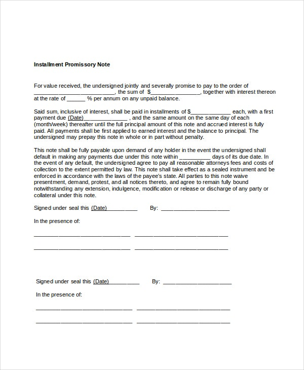 Promissory Note Template 11 Free Word PDF Documents Download – Promissary Note Template
