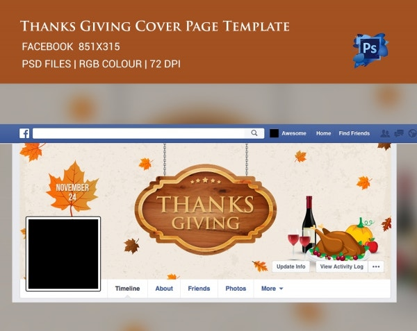 Thanksgiving Facebook Cover Page Template