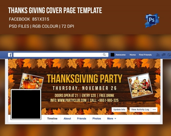 Facebook Cover Page for Thanksgiving Party