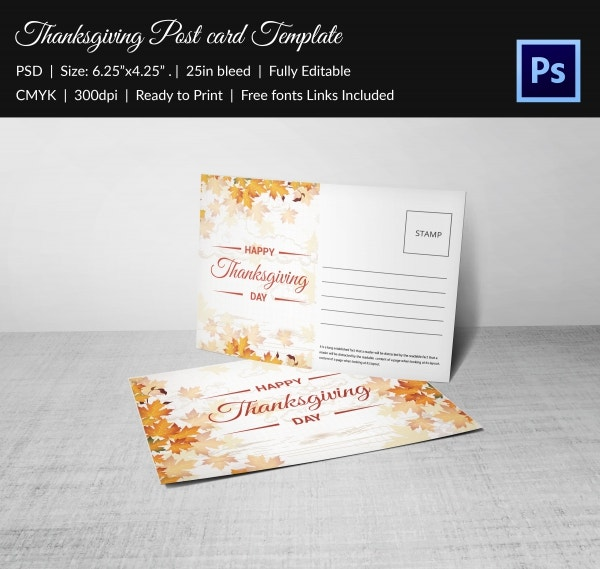 Printable Thanksgiving Postcard Design Template