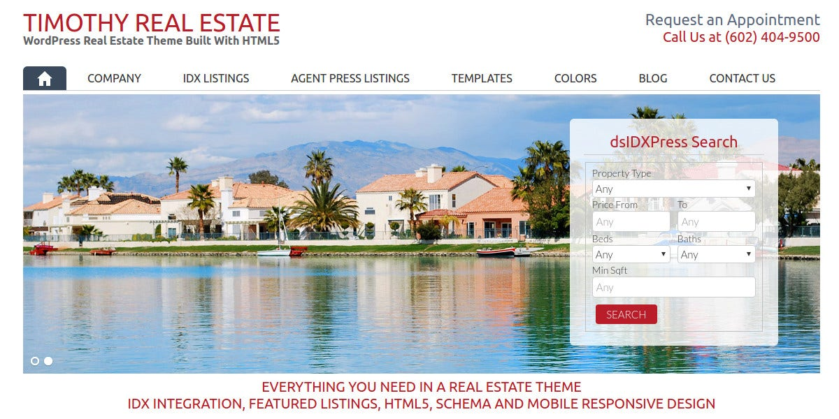 Designed WordPress Website Realtor Theme