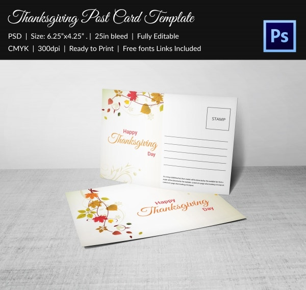 Thanksgiving Postcard Invitation Template Free Download