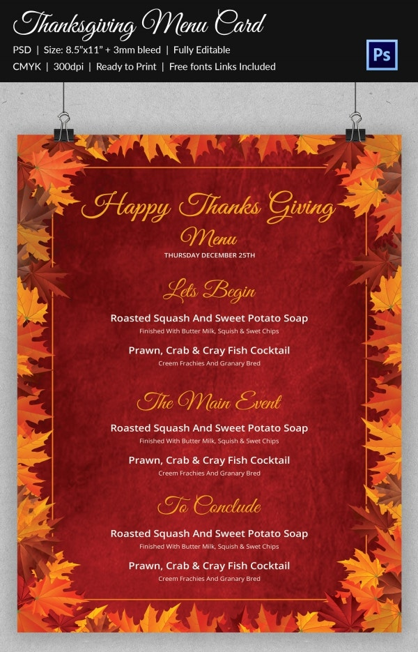 Happy Thanksgiving Menu Templates