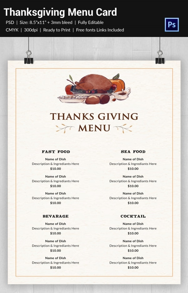 Thanksgiving Menu Template   Free Psd Eps Format Download