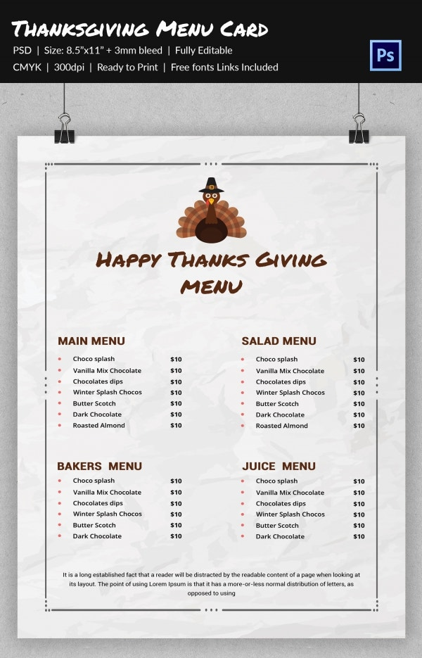 Printable Thanksgiving Menu Template