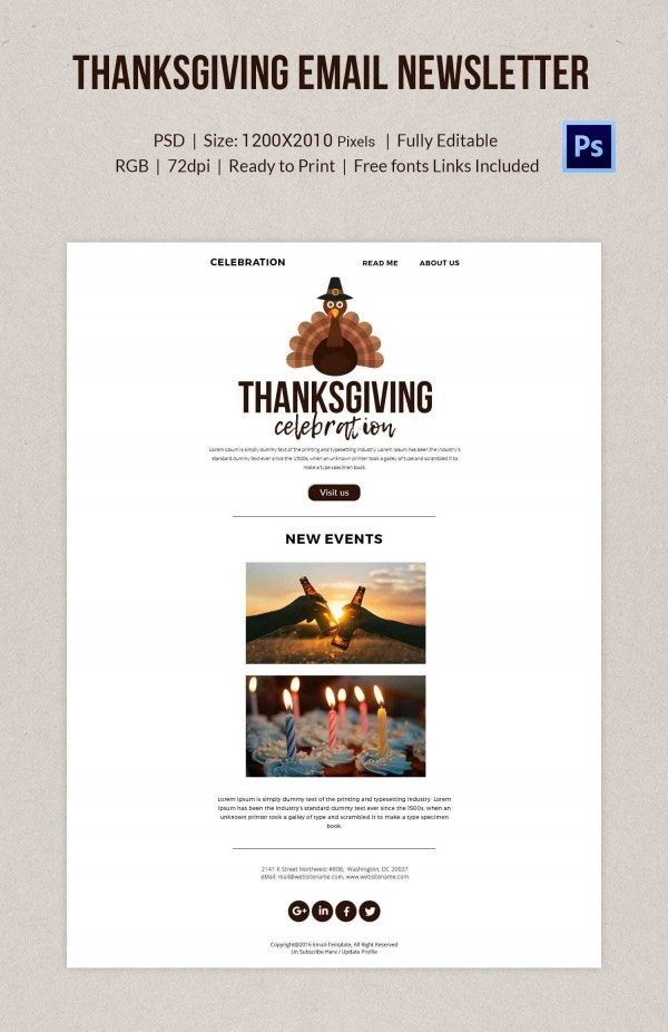 Thanksgiving Celebration Email Newsletter