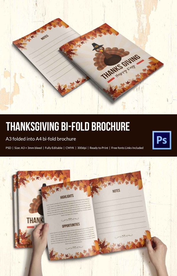 Thanksgiving Bi-Fold Brochure Templates