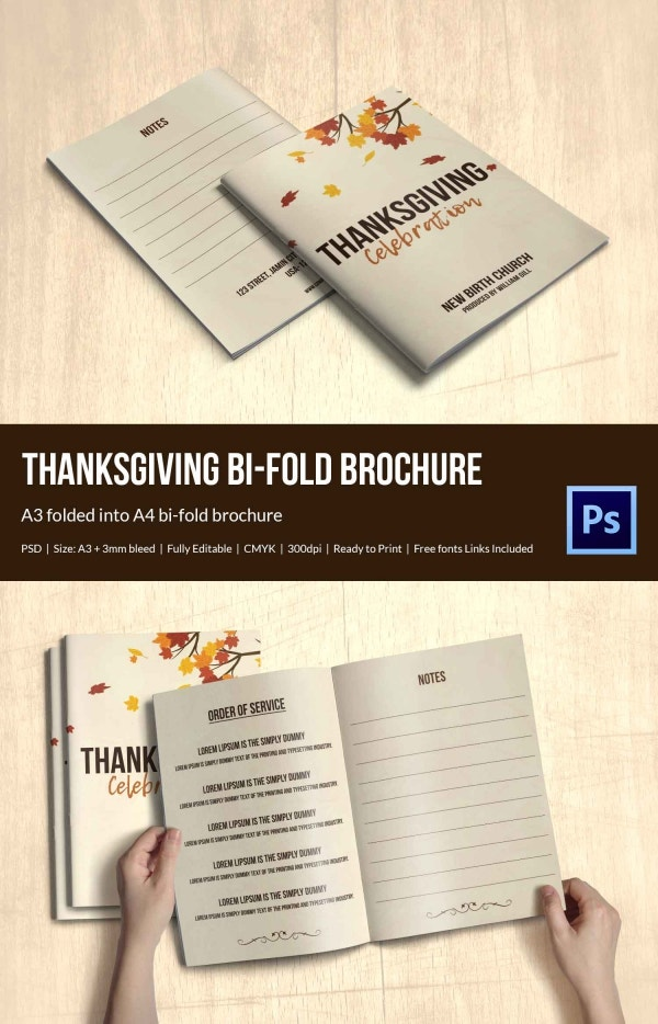 Order of Service Thanksgiving Brochure Template
